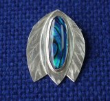 Silver Leaves with Blue Paua Shell Pendant