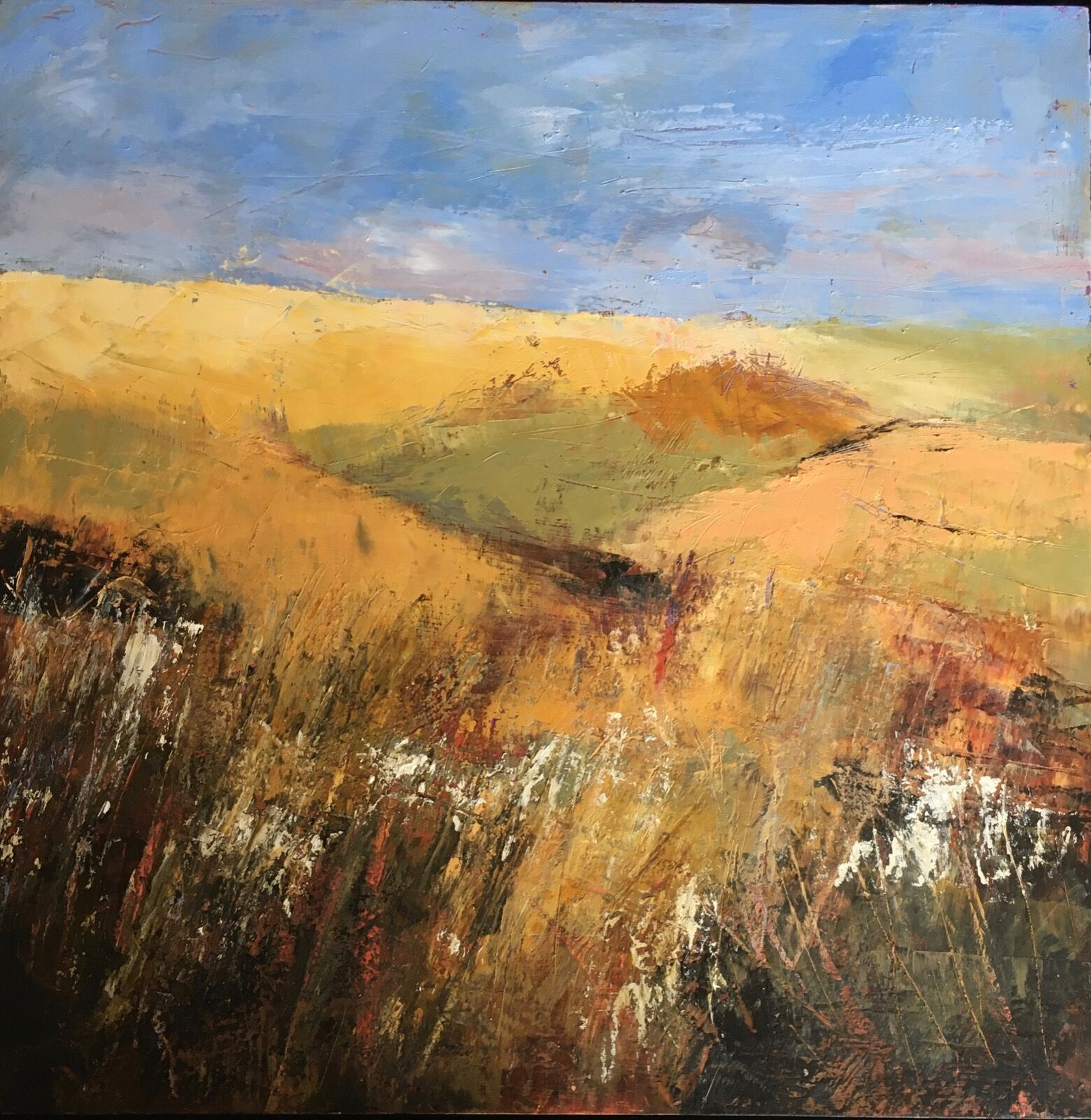 Wolds walk oil and cold wax