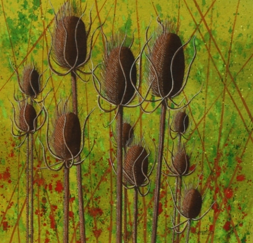 Autumn Teasels 25cm x 25cm
