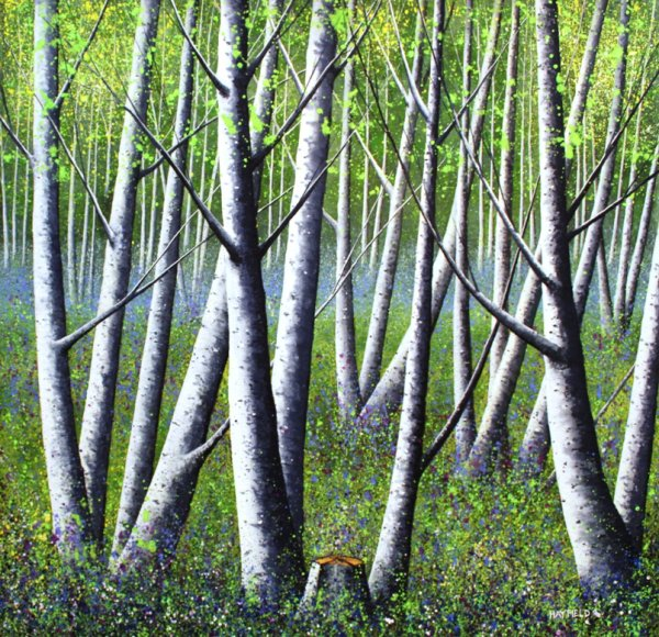 Silver trees and Bluebells (Sold)
