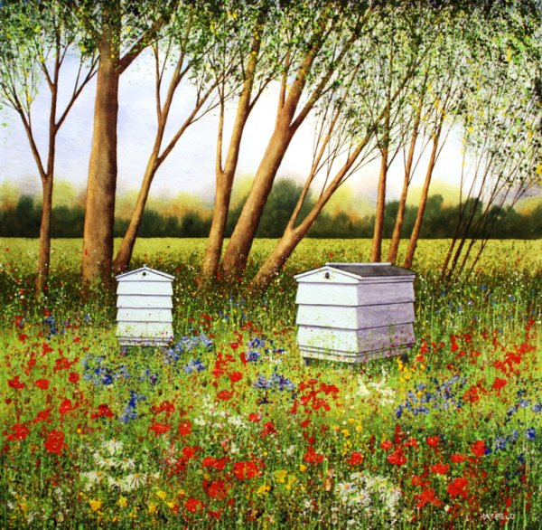 Bee Hives in a Summer Meadow (Sold)
