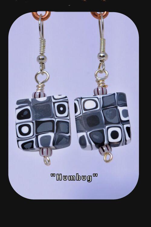 """Humbug"" Black,Grey,White Square Earrings"