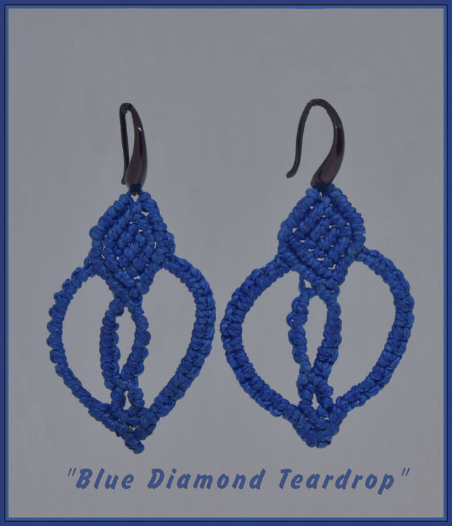 Blue Diamond Teardrop Earrings