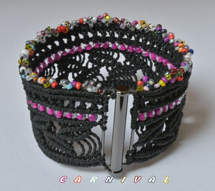 Carnival, Bracelet, Macrame, Bronze