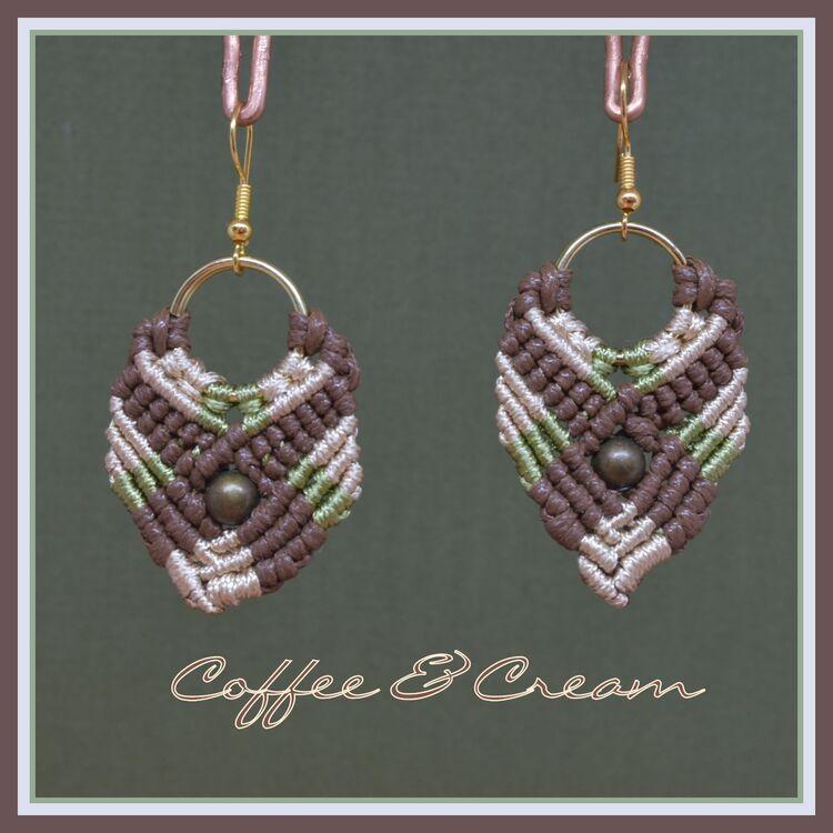 Coffee & Cream - Macrame Earrings
