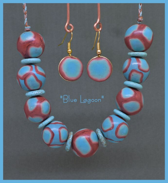 """Blue Lagoon"" Polymac Necklace & Earrings"