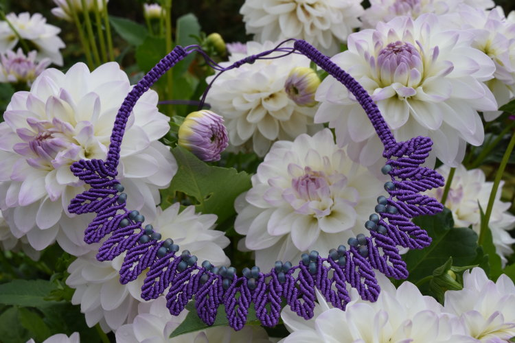 Deep Purple 18 leaves Macrame Necklace