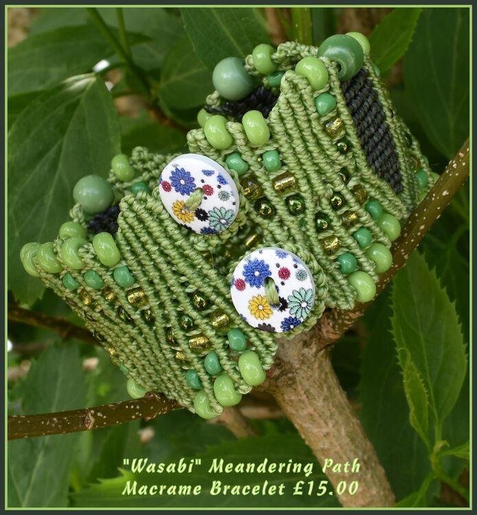 """Wasabi"" - Meandering Path - Macrame Bracelet"