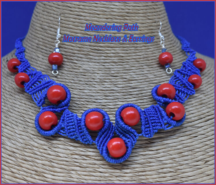 Meandering Path Macrame Blue & Red Necklace & Earrings