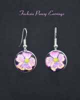 Fuchsia Pansy Earrings