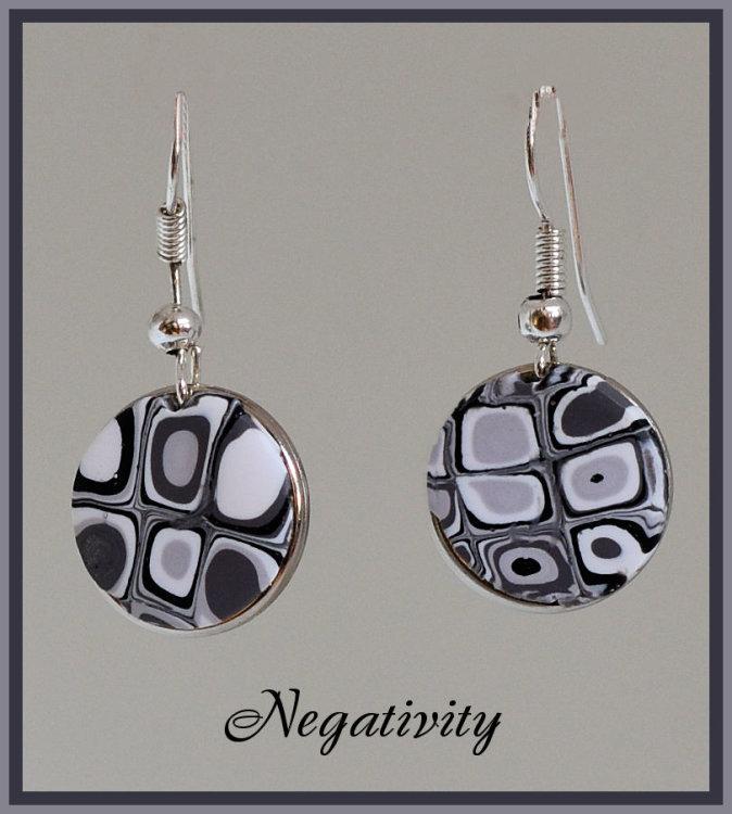 Negativity Earrings, Fish hook wires.