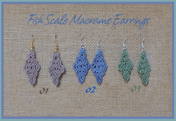 """Fish Scale"" Macrame Earrings"