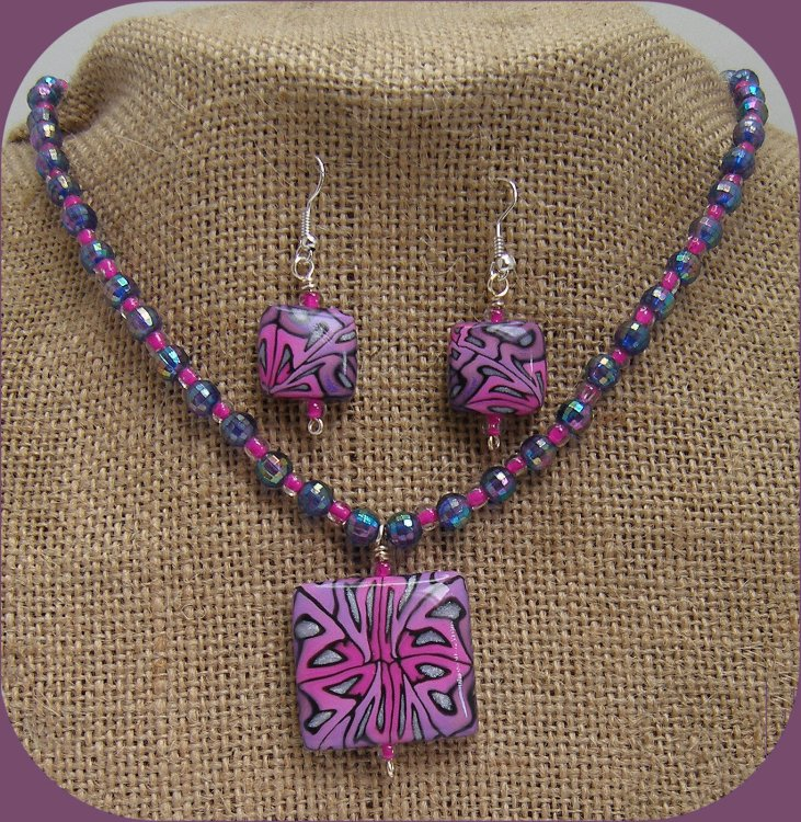 Fuchsia Pendant & Matching Earrings