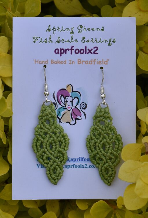 Spring Greens - Fish Scale Earrings