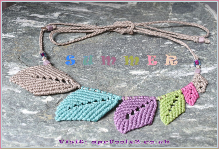 """Summer"" Six Leaf Macrame Necklace"