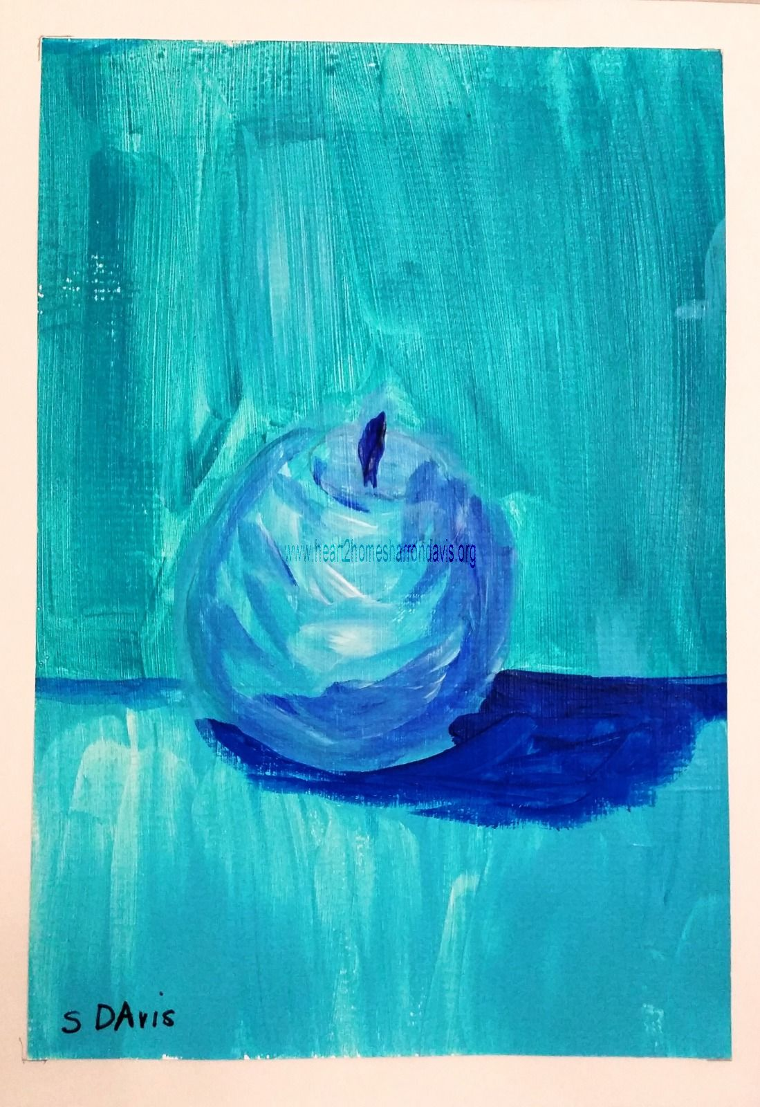 """Blue Fruit is Best series APPLE 1OF6 $50.00 EACH OR $250.00 FOR ENTIRE SET. COMES IN 12""""X16"""" MATT BOARD FRAME WITH BACKING BOARD IN CELLOPHANE SLEEVE."""