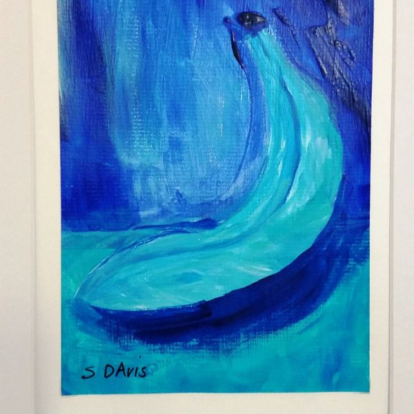 """Blue Fruit is Best series BANANA 5OF6 $50.00 EACH OR $250.00 FOR ENTIRE SET. COMES IN 12""""X16"""" MATT BOARD FRAME WITH BACKING BOARD IN CELLOPHANE SLEEVE."""