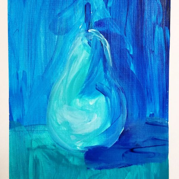 """Blue Fruit is Best series PEAR 2OF6 $50.00 EACH OR $250 FOR ENTIRE SET OF 6. COMES IN 16""""X12"""" MATT BOARD FRAME AND BACKING BOARD IN CELLOPHANE SLEEVE WITH A4 OPENING"""