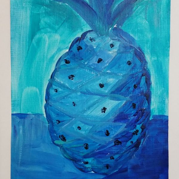 """Blue Fruit is Best series PINEAPPLE 6OF6 $50.00 EACH OR $250.00 FOR ENTIRE SET. COMES IN 12""""X16"""" MATT BOARD FRAME WITH BACKING BOARD IN CELLOPHANE SLEEVE."""