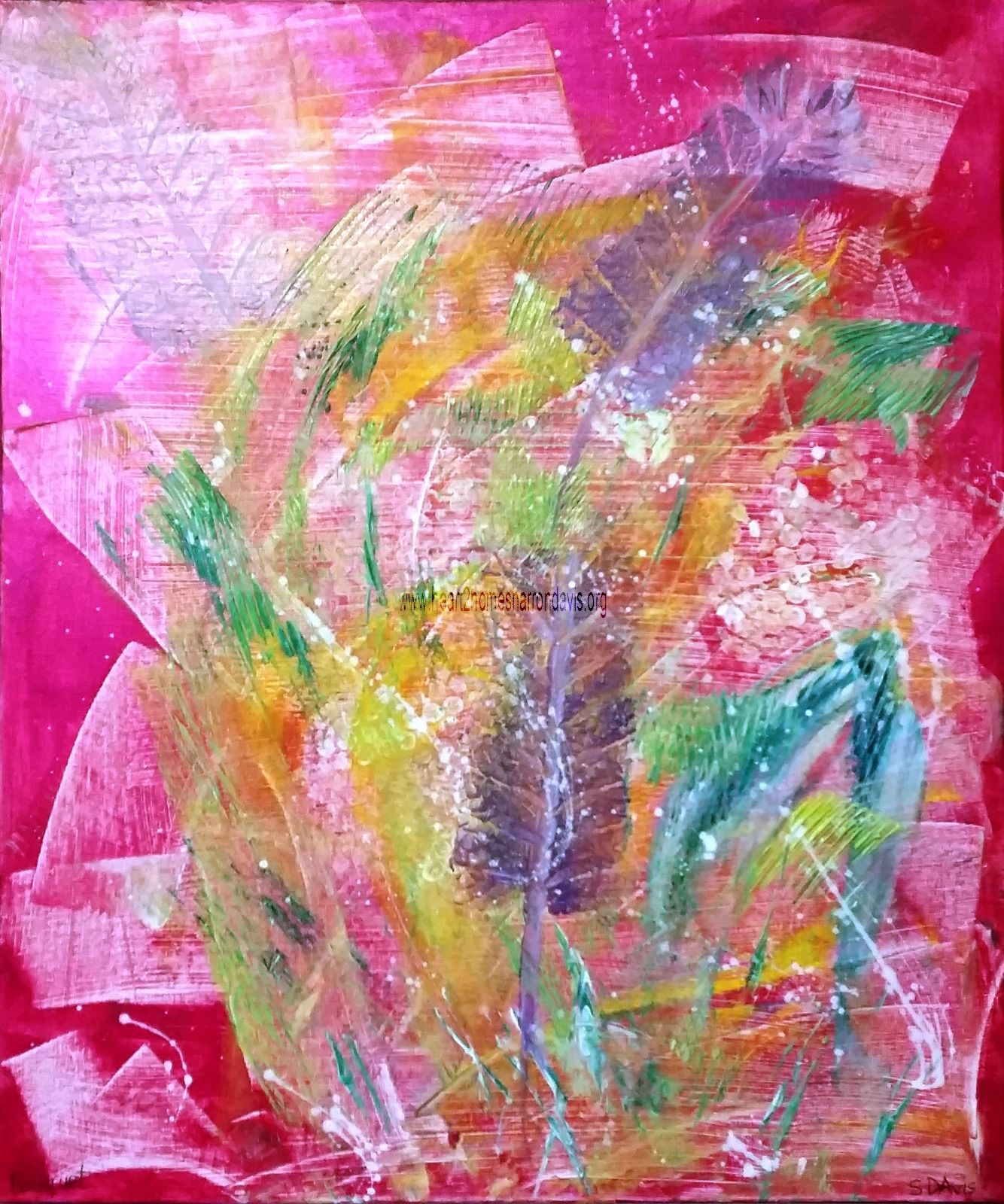 Name - BOUQUET 50cm x 60cm AU$250.00 Acrylic Abstract with Metallic Fuschia Background