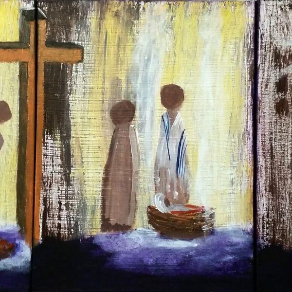 Name - THE GIFT 3 x 30cm x 40cm Triptych AU$ 300.00 Acrylic