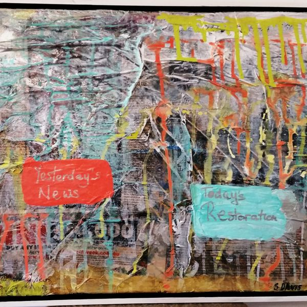 YESTERDAY'S NEWS 50cm x 40cm Acrylic Mixed Media includes white float frame $250.00