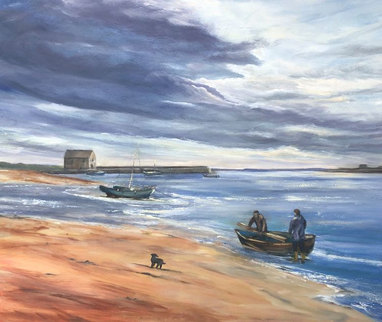 Fishermen on Elie Beach, Fife.