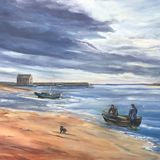 Fishermen on Elie Beach, Fife.
