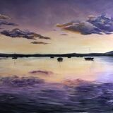 Lilac Light Evening Sun, Sea and Boats