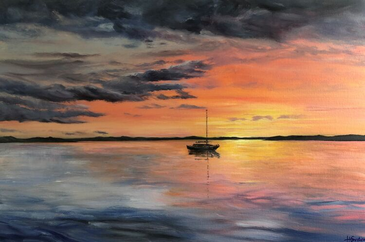 Sunset, Sea and Loan Boat