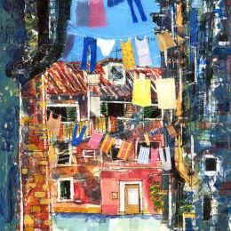 Venice Scene - Acrylic Collage