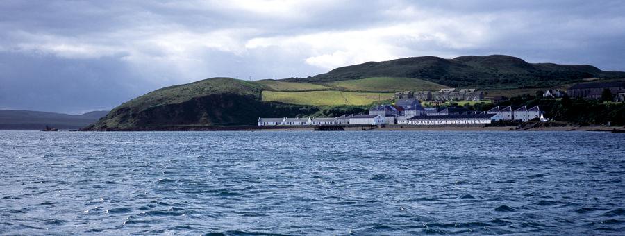 Bunnahabhain Distillery from the seaside, Isle of Islay