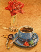 A Rose with my coffee, Helen Ainsworth, Derwent colour pencils.