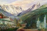 Ama Dablam and Everest with Tengboche Monastery - oil