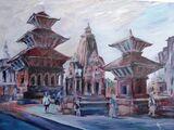 Evening in Patan Durbar Square  - Acrylic