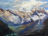 Everest  Sunset with Chorten  - Oil