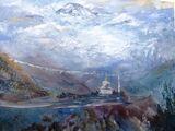 Everest  from the Tenzing Memorial - Oil