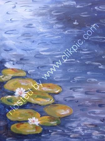 Lily Pond in Rain