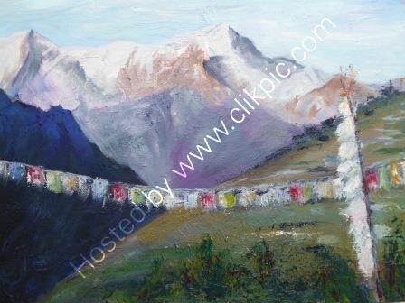 Namche Bazaar and  Kongde Ri Ridge - Oil