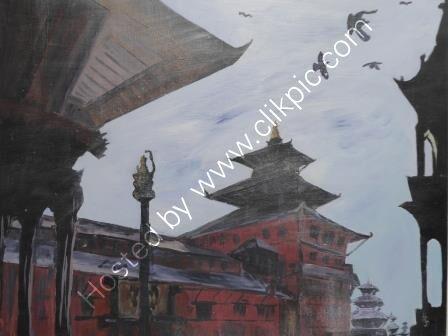 Patan Durbar Square-  acrylic