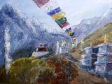 Prayer Flags above Tengboche - oil