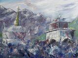Tengboche Monastery Mani Stone Wall  -Oil