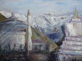 Tengboche Stupas with Everest   -Oil