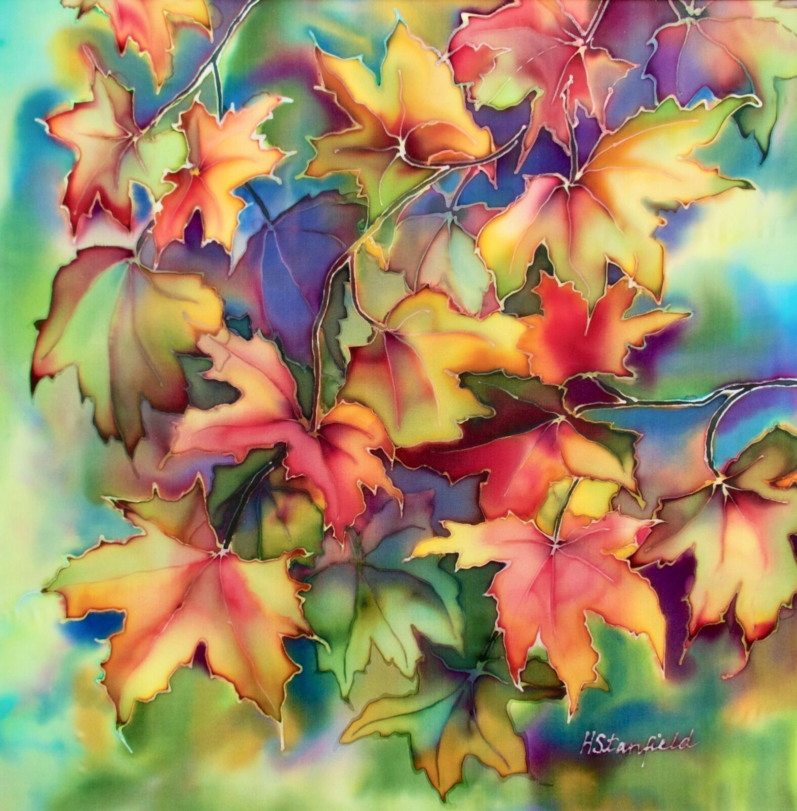 'Autumn Colours III'. Original silk painting, sycamore, mounted anf framed.