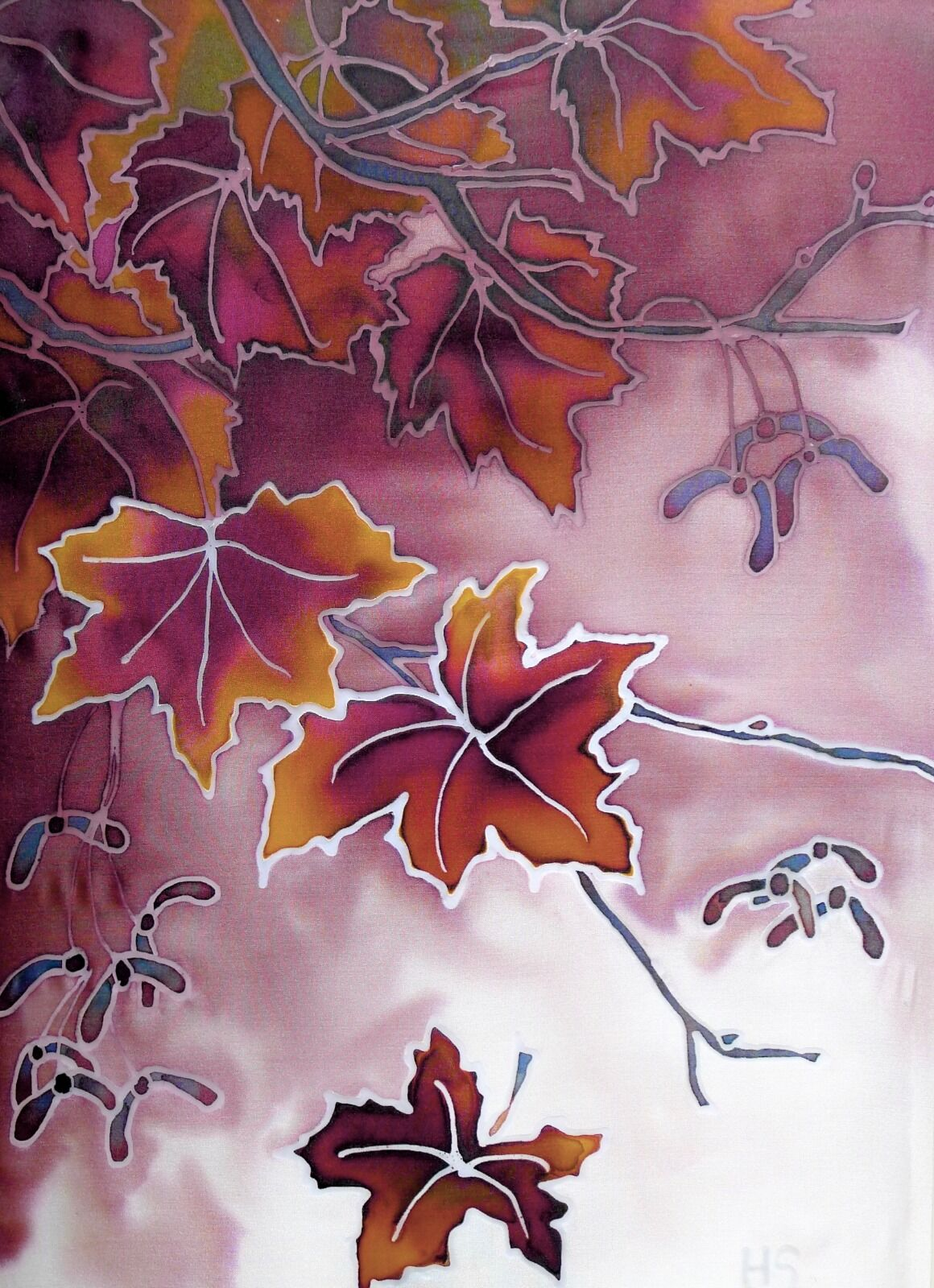 'Autumn Sycamore'. Original silk painting, Mounted and framed.