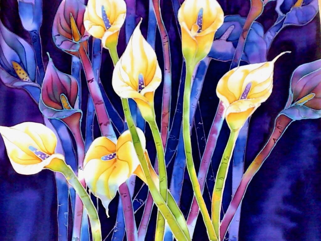'Calla Lilies', original silk painting, mounted and framed. 50cm x 40cm.