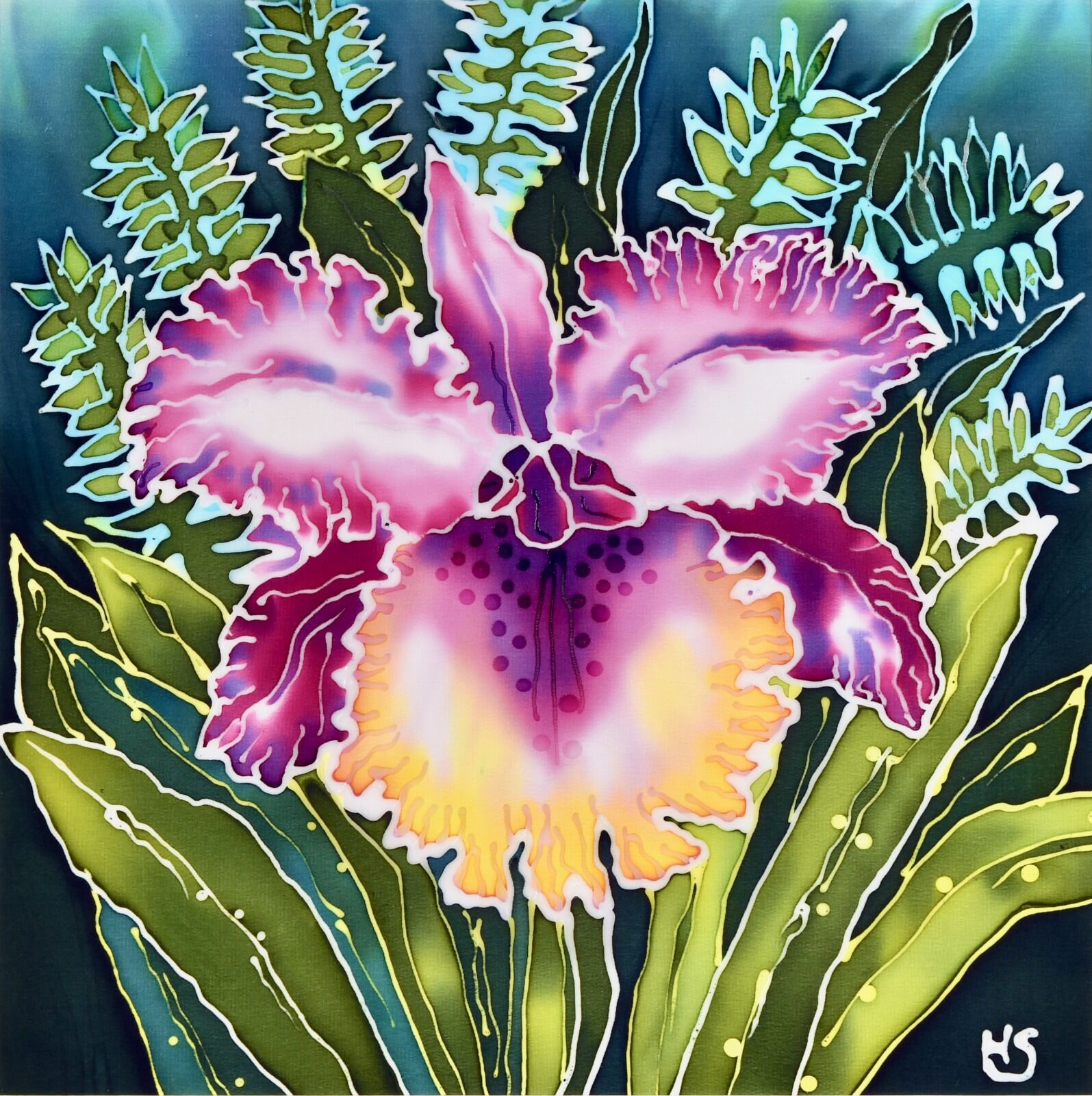 'Frilled Orchid'. Original silk painting, mounted and framed.