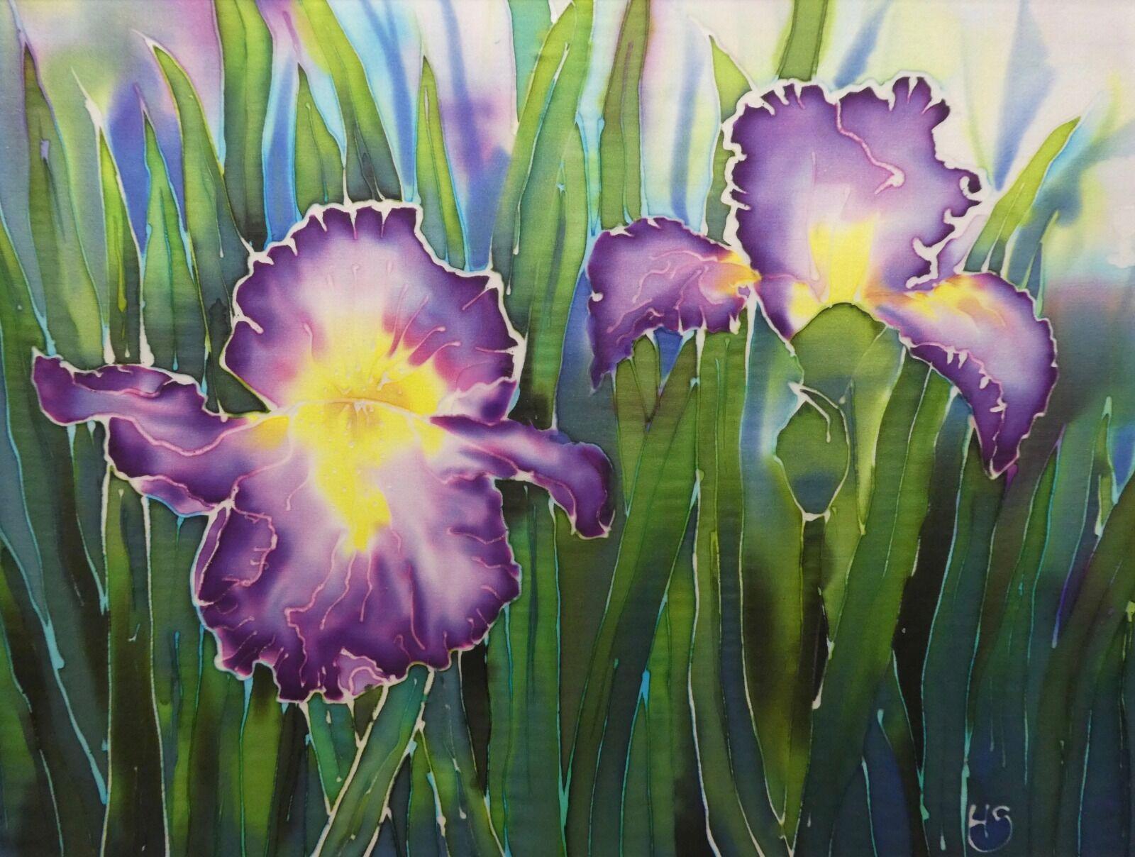 'Iris II'. Original silk painting.