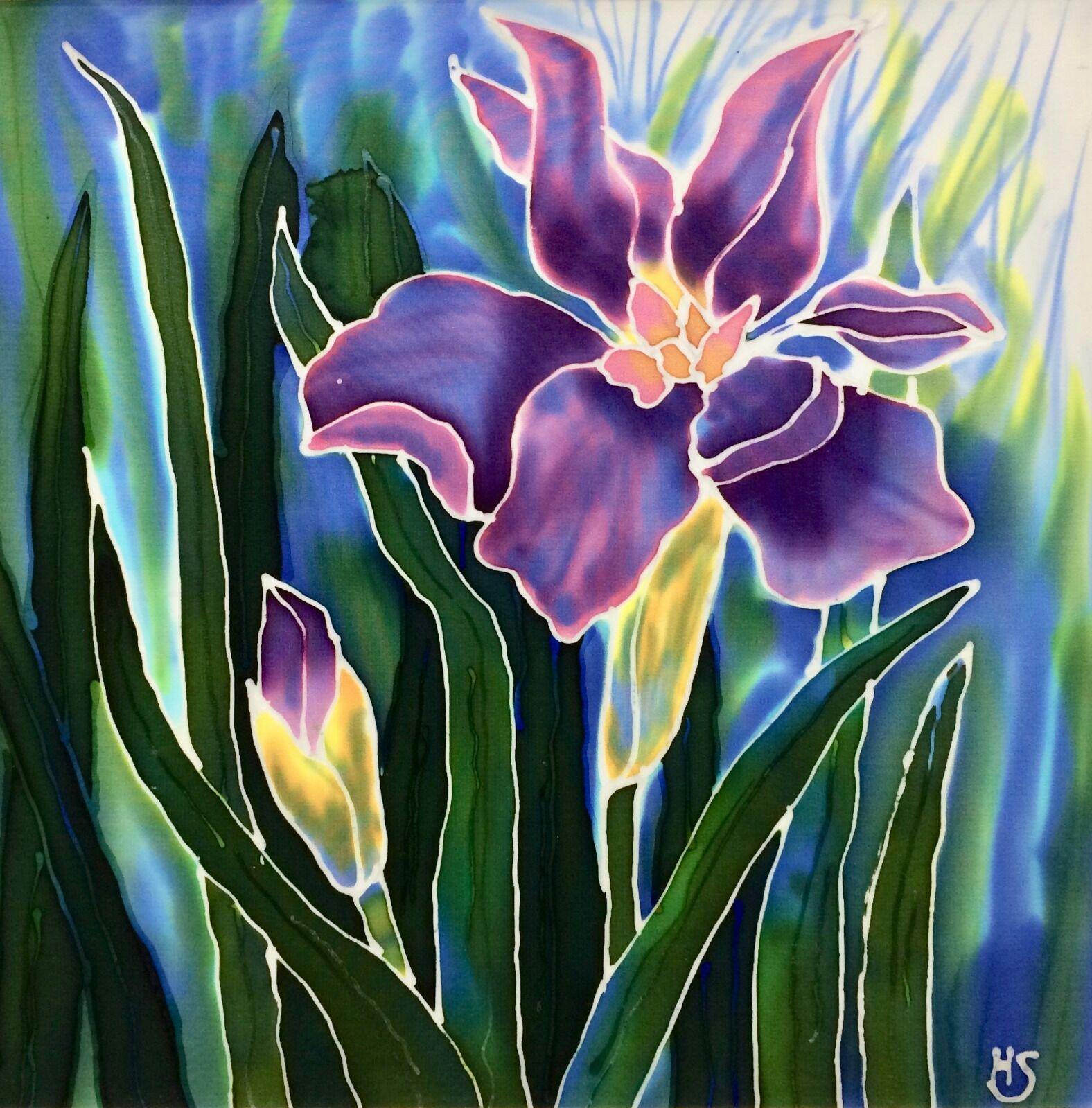 'Iris'. Original silk painting. mounted and framed, 50cm x 50cm