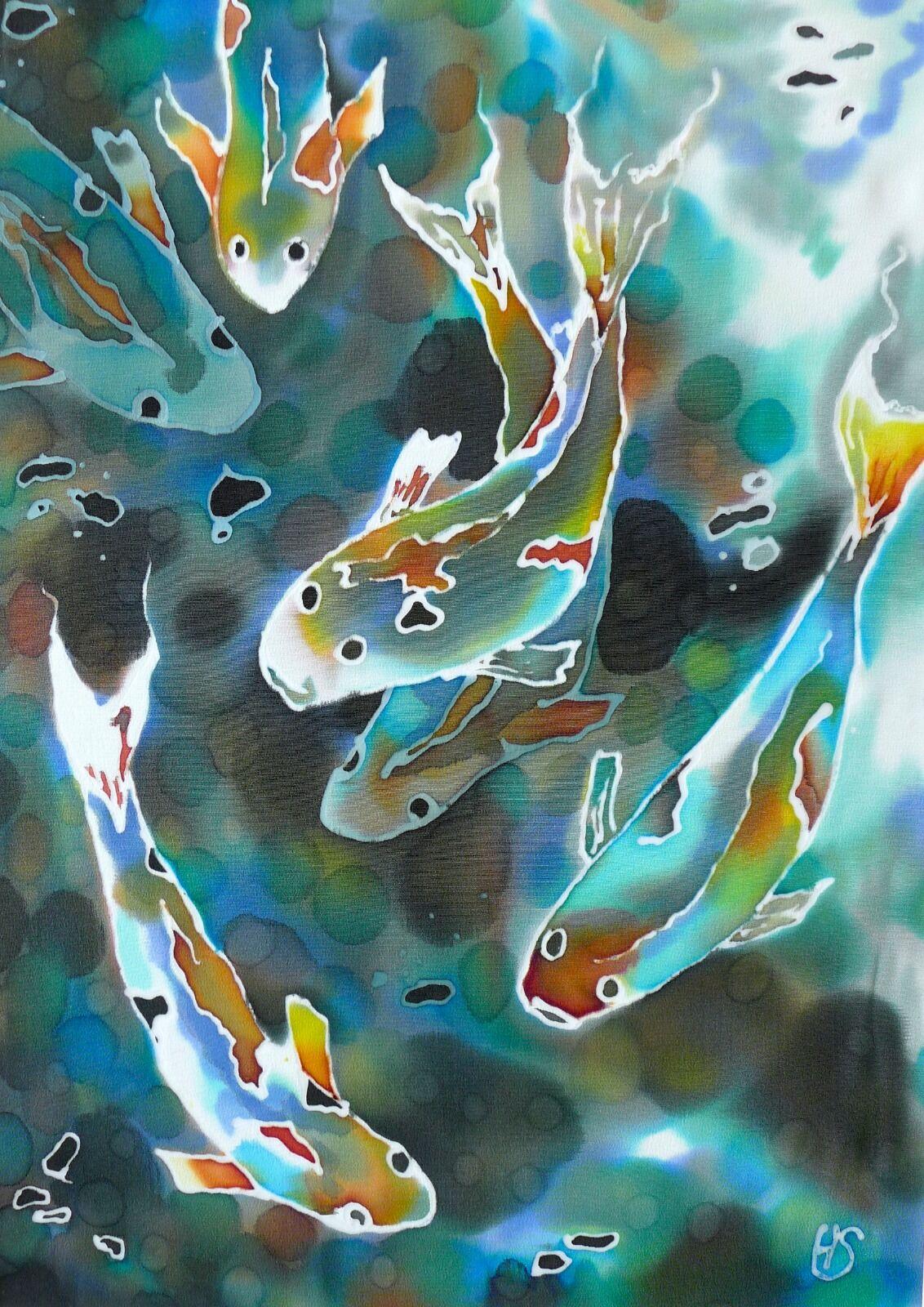 'Koi'. Original silk painting.
